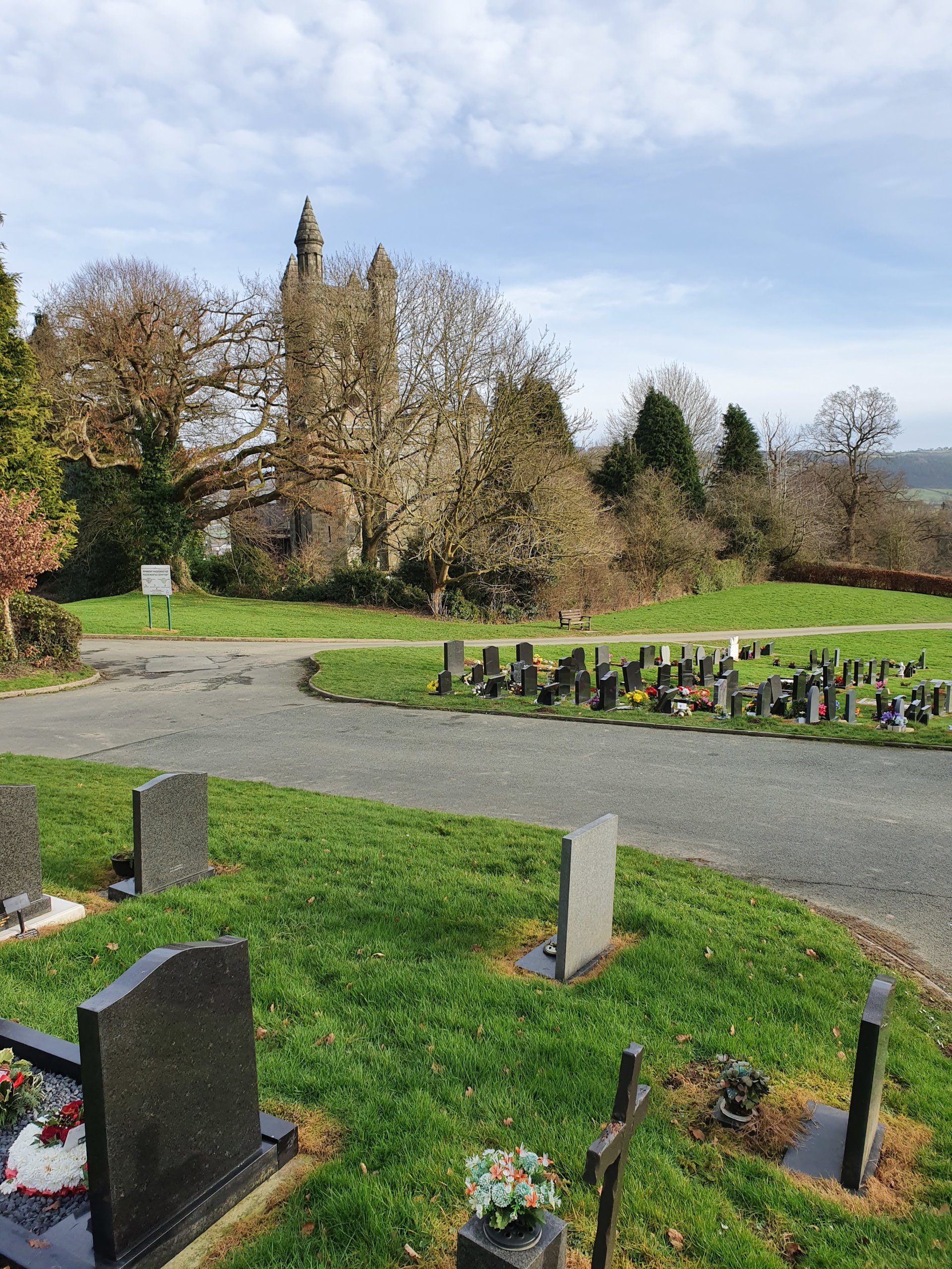 Maesgwasted Cemetery looking towards Christ Church